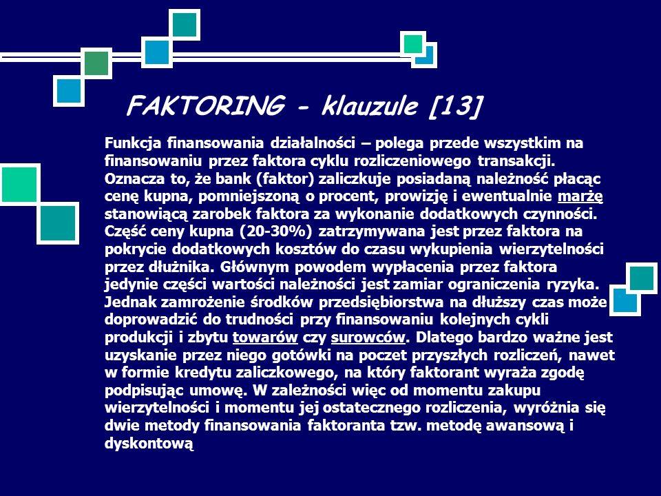 FAKTORING - klauzule [13]
